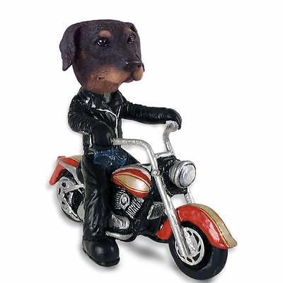 Doberman Pinscher on a Motorcycle Hand Painted Collectible Resin Figurine Statue