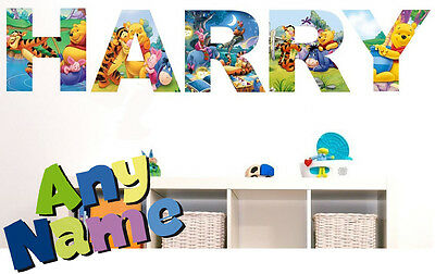 WINNIE THE POOH letter name wall stickers (3 sizes available & PRE-CUT)