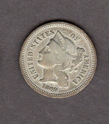 US 1869 Three Cent Nickel Coin in VG Very Good Condition!!!