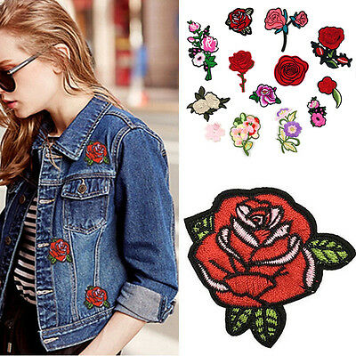 2Pieces Red Rose Flower Embroidery Applique Cloth DIY Sewing Iron on Patch Badge