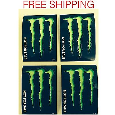"""Four (4) Monster Energy Drink Decal Stickers -  4"""" X 2.75"""""""