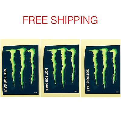 """Three (3) Monster Energy Drink Decal Stickers -  4"""" X 2.75"""""""