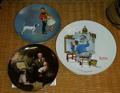 3 Limited Edition Norman Rockwell Collector Plates