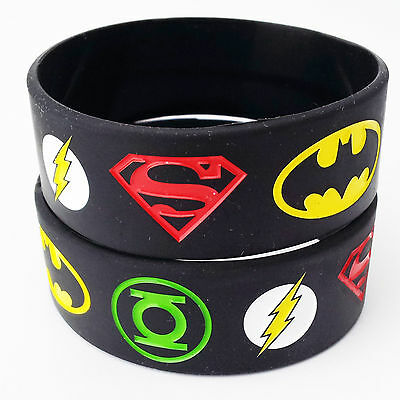 The Superman Batman Green Lantern Flash Silicone Rubber Wristbands Bracelets