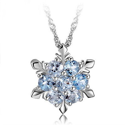 Girls Silver Plated Crystal Blue Frozen Princess Elsa Snowflake Pendant Necklace