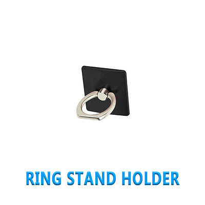360 Universal Finger Ring Sticky Mount Stand Holder For Smart Phone Black