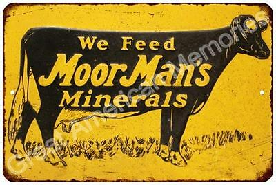 Moor Man's Minterals & Feed Vintage Look Reproduction 8x12 Metal Sign 8124516