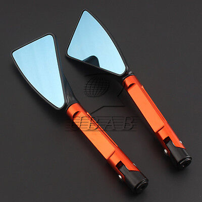 Black Orange Motorcycle Triangle Rearview mirror 8MM & 10mm Aluminum Anti-glare