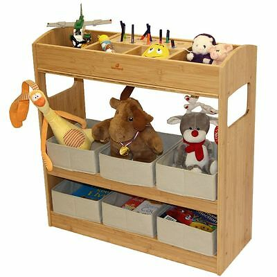 Kids Toy Organiser 3 Tier Storage Unit with 6 Canvas Fabric Bins, Made of Bamboo