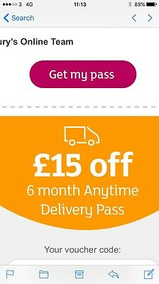 Sainsbury's Online Grocery £15 Off 6 Month Anytime Delivery Pass Voucher Code