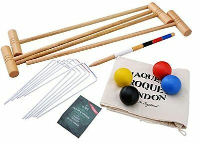 Lawn Croquet Set w/ Drawstring Bag 4 Players High Quality Garden Outdoor Game