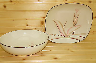 """Winfield Dragon Flower 2 Bowls-9 1/4"""" Square  & 9"""" Round Vegetable Serving Bowls"""