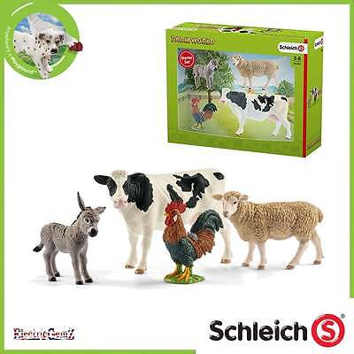 Schleich Farm World Farm Starter Set inc Cow Donkey Rooster and Sheep Figures