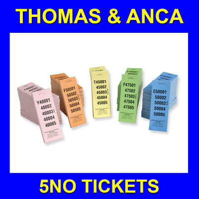 5 No 1 Perforation Raffle Ticket Numbered 1-100,000 5 Different Colours