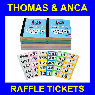 12 Books of 1-500 Cloakroom Raffle Tombola Tickets 5 Different Colours