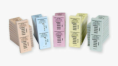 10 No 2 Perforation Raffle Ticket Numbered 1-100,000 5 Different Colours