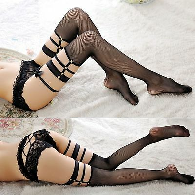 Mujer Respirable Medias Con Liguero Hasta Muslo Calcetines Legging Stockings