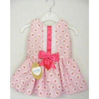 Kinder Baby-Girls Hot Pink & White Floral Bow Spanish Style Drop Waist Dress