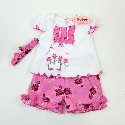 Baby Girls White Top & Pink Floral Shorts Hairband Floral Outfit 3-6 Months