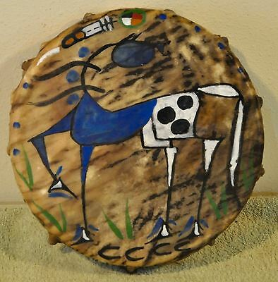 Blue Horse /Native American Drum Painted by Lakota Artist Sonja Holy Eagle
