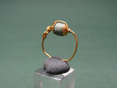 Ancient Gold Ring / Earring With Glass Stone Greco-Roman 200 Bc-100 Ad
