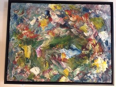 Abstract Expressionist Original Oil Painting Framed 1970s Outsider Art Vintage