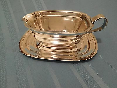 Vintage Reed & Barton Silverplate Gravy Sauce Boat & Tray Mayflower Silver Plate