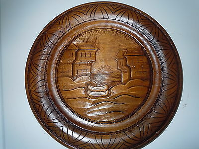 Hand Carved Vintage Wooden Plate European Scandinavian Norse Mahogany Old Plaque