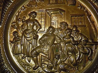 Vintage Brass Wall Plate Charger Tavern Scene Lombard England Old Plaque Quality