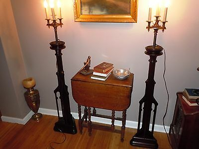 Rare Pair Antique Art Deco Nouveau Walnut Floor Lamps Candleabra Lamp Wooden