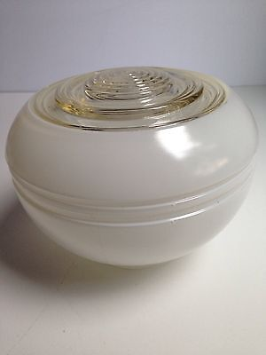 Vintage Retro White + Clear Glass Ceiling Light Shade