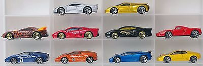 Lot of 10 supercar Hot Wheels diecast cars 1:64