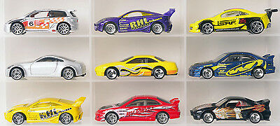 Lot of 9 tuner car Hot Wheels diecast cars 1:64