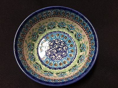 NWT Collectible Polish Boleslawiec Pottery Blue Flowers Small Serving Bowl