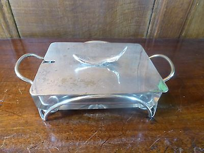 ANTIQUE Silver Plated CUT GLASS SARDINE DISH with BASE and LID
