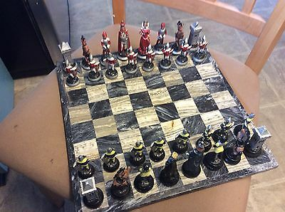 Hand Made and Hand Painted Pewter Medieval Chess Set