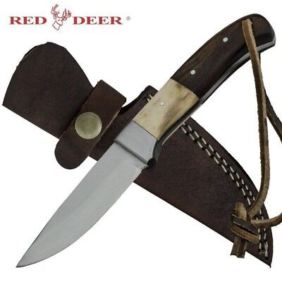 Red Deer Bone and Wood Handle Hunting Knife Fixed Blade RD-131