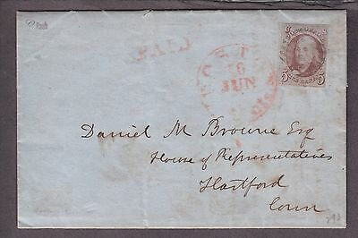 US 1 on Cover FLS from Boston to Hartford CT. 6/15/1851 SCV $625