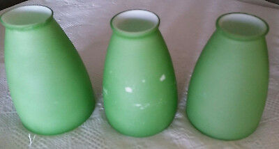 Vtg Mid-Century Modern Tension Pole Cased Glass Lamp Shades Cone Bullet Green