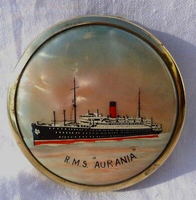 """VINTAGE 1920's CUNARD LINE R.M.S AURANIA ocean liner compact by STRATNOID,2""""wide"""