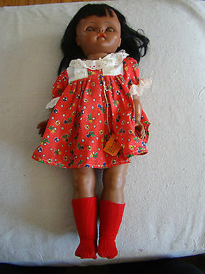 Vintage Sleepy Eye 19 1/2 inch Tall Plastic African American Doll  81725