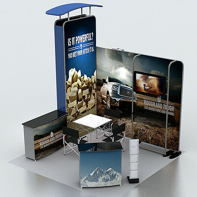 10ft Portable Trade Show Display Booth With Custom Graphic + TV Stand + Podium