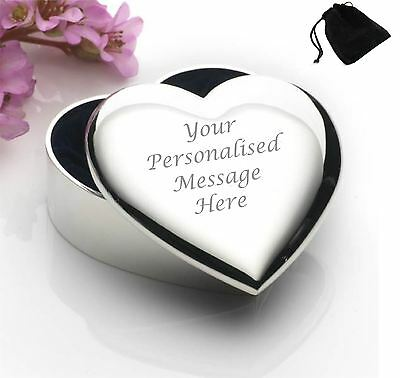 Silver Plated Heart Shaped Trinket Box With Your Engraving and Black Gift Pouch