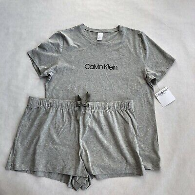 NWT Women's Calvin Klein Gray Pajama SET PJ Sleep Tank Top Lounge Shorts CK