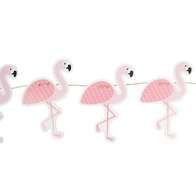 Flamingo Bunting - Tropical Summer Banner, Pink Jute Paper Party Picnic Outdoors