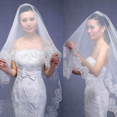 Cathedral Length Lace Edge Bride Wedding Bridal Veil Long Trail Accessories New