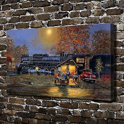 """12""""x20""""HD Canvas Print Paintings Train Passing Time Home Decor Wall Art Pictures"""