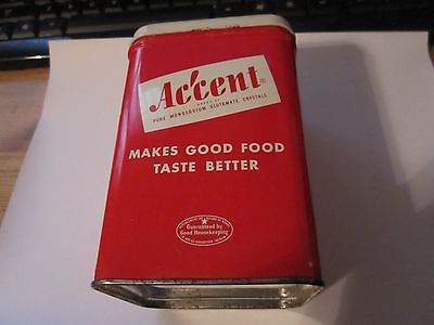Vintage Tin-- Accent Pure MSG. Very Nice Condition.