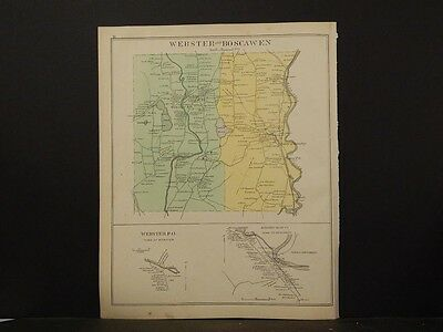New Hampshire, Merrimack County Map,Concord, Reversable. Dbl. Page 1892 L4#61