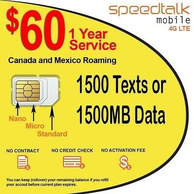 1 Year Wireless Plan $60 Prepaid GSM SIM Card No Contract Rollover TalkText Data